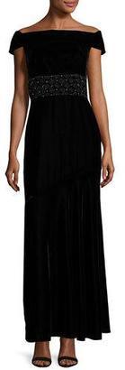 Shoshanna Cap-Sleeve Velour Column Gown, Jet $580 thestylecure.com