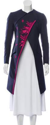 Christian Dior Embroidered Knee-Length Coat Navy Embroidered Knee-Length Coat