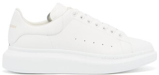 Alexander McQueen Raised Sole Low Top Leather Trainers - Mens - White