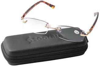 SOOLALA Diamond Cut Edge Gradient Tinted Lens Leopard Legs Rimless Reading Glasses, x1.5