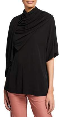 Co Draped Cowl-Neck 1/2-Sleeve Tunic