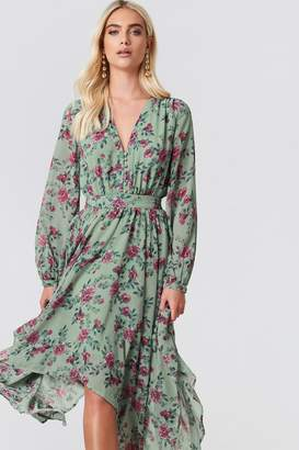 Andrea Hedenstedt X Na Kd Asymmetric Hem Chiffon Dress Green Flower