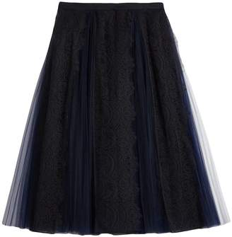 Burberry Lace Panel Pleated Tulle Skirt
