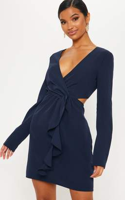 157309228710 at PrettyLittleThing · PrettyLittleThing Navy Wrap Frill Cut Out Shift Dress