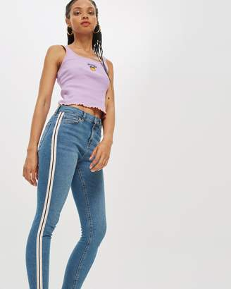 Topshop MOTO Side Striped Jamie Jeans