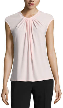 Liz Claiborne Cap Sleeve Twist Neck Top-Womens