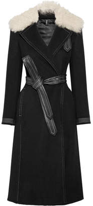 Helmut Lang Shearling-trimmed Wool And Cashmere-blend Coat - Black