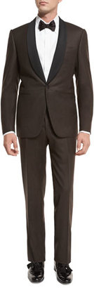 Canali Flannel Satin-Collar Tuxedo Suit, Brown $2,195 thestylecure.com