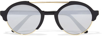 Illesteva - Milan Iii Round-frame Acetate And Gold-tone Mirrored Sunglasses - Black $300 thestylecure.com