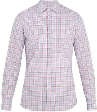 Prada Point-collar checked-print cotton shirt