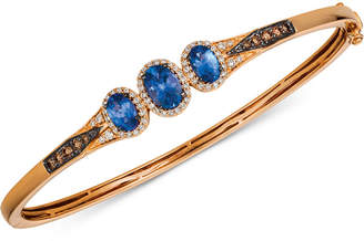 Macy's Le Vian Chocolatier® Blueberry Tanzanite® (1-1/3 ct. t.w.) & Diamond (1/2 ct. t.w.) Bangle Bracelet in 14k Rose Gold