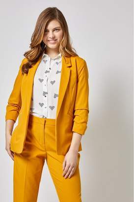 Dorothy Perkins Womens Ruched Sleeve Jacket - Yellow