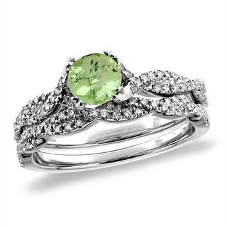Sabrina Silver 14K White Gold Diamond Natural Peridot 2pc Infinity Engagement Ring Set Round 5 mm, size 8