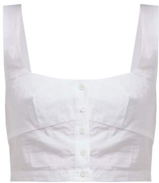 Araks Tilly Cropped Cotton Poplin Top - Womens - White