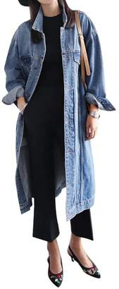 LD-women clothes LD Womens Plus Size Button Down Mid Length Denim Jacket Trench Coat Outerwear XL