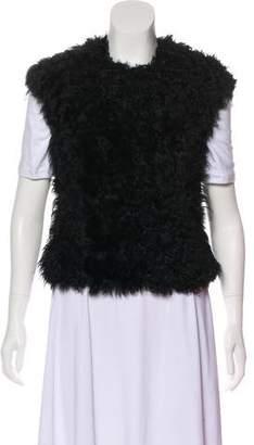 AllSaints Shearling Collarless Vest