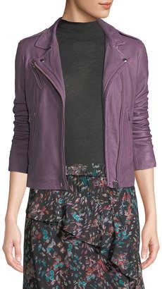 IRO Han Leather Zip-Front Moto Jacket