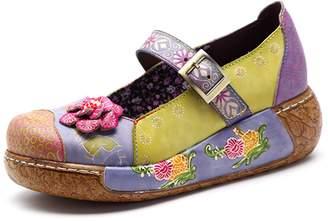 Socofy Women's Wedge Sandals, Ladies Comfort Slip On Platform Moccasin Retro Flower Anckle Strap Shoes