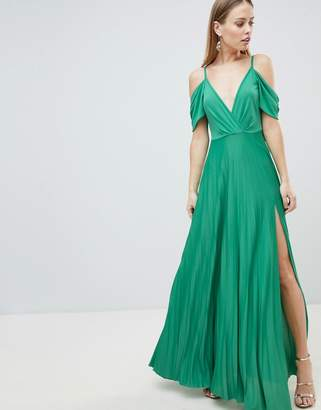 Asos Design DESIGN Cold Shoulder Cowl Back Pleated Maxi Dress