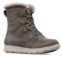 Sorel Explorer Joan Waterproof Faux Fur-Trimmed Suede Boots