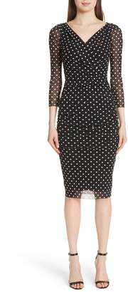 Fuzzi Polka Dot Tulle Surplice Dress