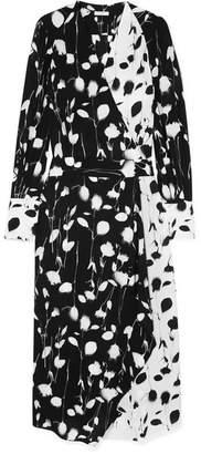 Equipment Neema Asymmetric Wrap-effect Floral-print Georgette Maxi Dress - Black