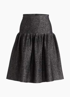St. John Sculpted Rib Knit Pleat Skirt