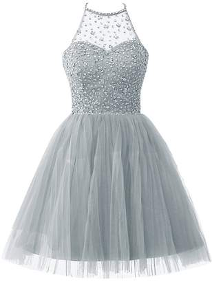 Cdress Homecoming Dresses Short Tulle Cocktail Prom Gowns Junior Evening Party Dress Halter Beads US