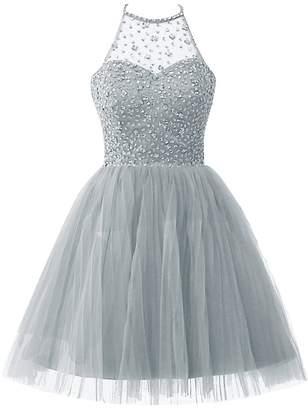 Cdress Short Tulle Homecoming Dresses Junior Halter Prom Dress Sequins Beading Cocktail Dress US