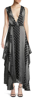 Diane von Furstenberg Draped Dot-Print Silk Maxi Dress