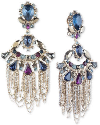 Marchesa Gold-Tone Stone & Crystal Multi-Chain Chandelier Earrings