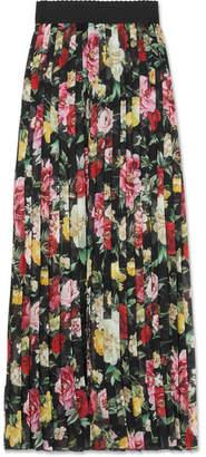 Dolce & Gabbana Pleated Floral-print Silk-chiffon Midi Skirt