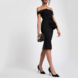 River Island Black bardot tie front bodycon dress