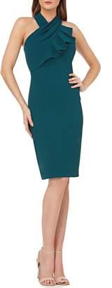 Carmen Marc Valvo Ruffle Halter Sheath Dress