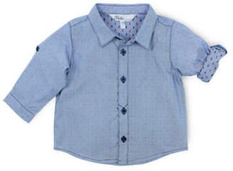 Bebe NEW Theo Spot Long Sleeve Shirt Blue