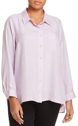 Eileen Fisher Plus Silk Button-Down Blouse