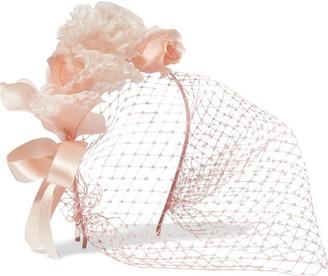 Lily Floral-appliquéd Silk-organza And Satin Veiled Headband - Pastel pink