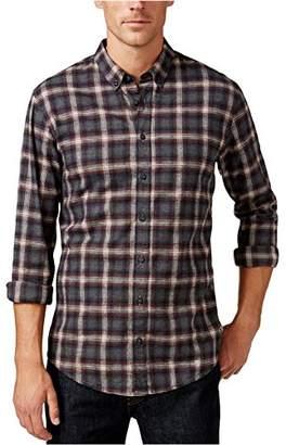 HUGO BOSS BOSS Orange Men's Edipoe Lightweight Tar Plaid Flannel Button Down Shirt