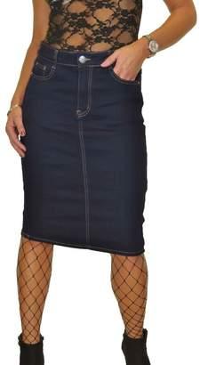 Ice Stretch Denim Jeans Pencil Skirt Indigo Dark Blue 8-18