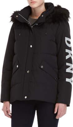 DKNY Black Faux Fur Trim Logo Coat