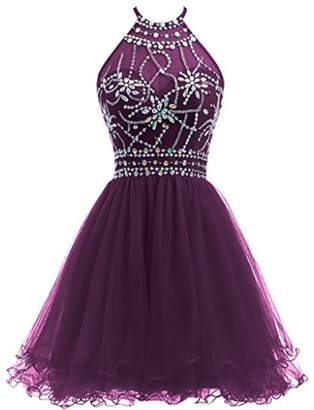 FWVR Halter Beaded Short Homecoming Dresses for Juniors 2018 Tulle Prom Party Gowns