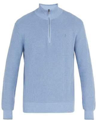 Polo Ralph Lauren Logo Embroidered Half Zip Pima Cotton Sweater - Mens - Light Blue