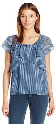 Max Studio Women's Printed Short Sleeve Blouse