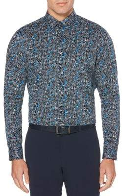 Perry Ellis Floral Paisley Print Stretch Long Sleeve Button-Down Shirt