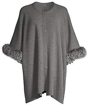 Sofia Cashmere Women's Fox-Fur Trim Cashmere Poncho Jacket