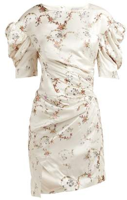 Preen by Thornton Bregazzi Greta Floral Print Puff Sleeve Satin Dress - Womens - Ivory