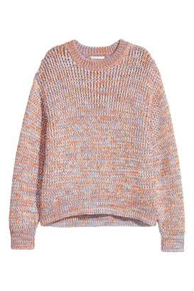 H&M Chunky-knit Sweater - White/black melange - Women