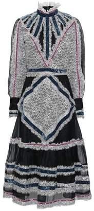 Erdem Velvet-trimmed Lace And Silk-blend Organza Midi Dress
