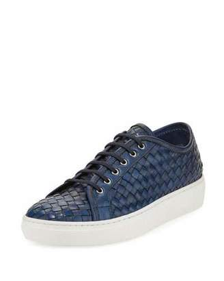 Sesto Meucci Nace Woven Lace-Up Sneaker, Navy $300 thestylecure.com