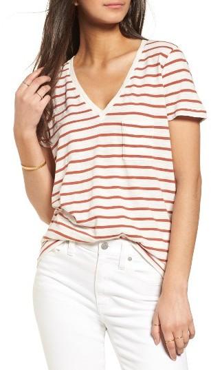 Women's Madewell Stripe V-Neck Tee
